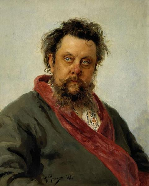 Portrait of the Composer Modest Musorgsky by Ilya Repin on friends-of-art.net