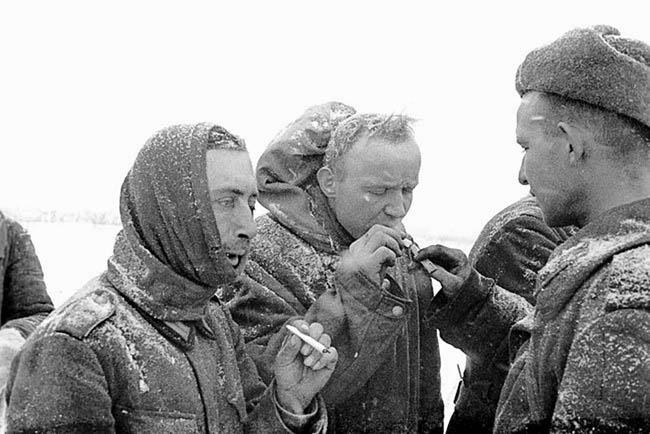 Советский боец дает прикурить пленным немцам.