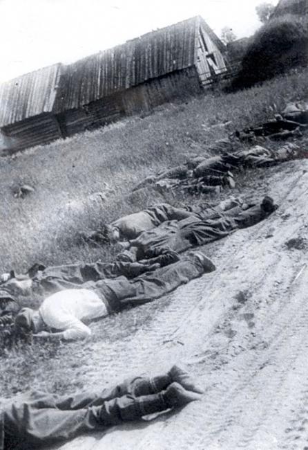 Мирные советские жители, убитые фашистами. Подмосковье, 1941 г. Автор съемки: Нарциссов И. А.