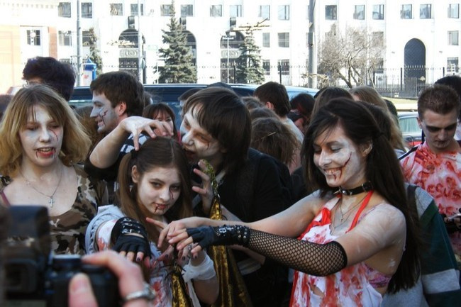 Зомби-моб в Москве