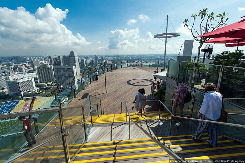 Отель Marina Bay Sands, бассейн под облаками Ладно, пойдем на крышу. Часть крыши открыта для туристов. Даже если вы не живете здесь, можно купить билет за 20 долларов и подняться на смотровую площадку или в ресторан.