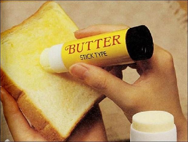 Интересные изобретения Масло-карандаш. Масло в тюбике, созданном по типу клея-карандаша. Сидишь себе спокойно, масло «наклеиваешь».