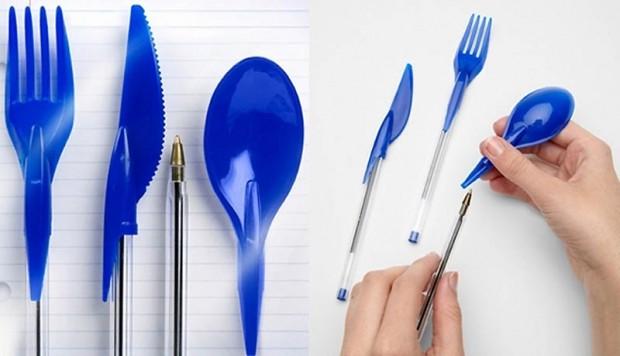 Интересные изобретения Ручки с колпачками в виде вилки, ложки и ножа. Для тех, у кого реально мало времени пообедать в офисе.