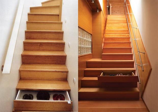 Интересные изобретения Лестница с ящиками в ступеньках.