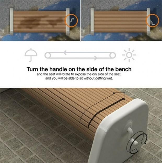 Интересные изобретения Хочется посидеть, но скамейка у подъезда мокрая после дождя? Не беда! Эта скамейка имеет подвижные пластины и ручку сбоку. Просто поверните седушку сухой стороной!