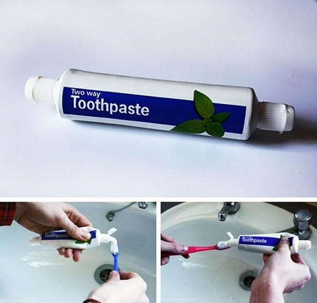 Интересные изобретения Двухсторонний тюбик зубной пасты. Хм… чтобы у каждого в семье была своя половинка. Вот и посмотрите, кто зубы чистит два раза в день, а кто халтурит.