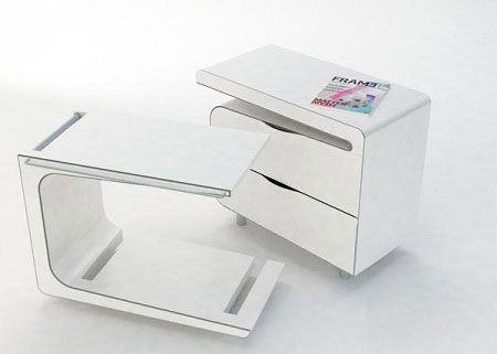 Креативные вещички Сервировочный столик на колесах удобно «прячется» внутри конструкции прикроватной тумбочки