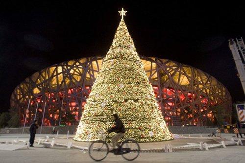 Лучшие Рождественские фотографии Стадион «Птичье Гнездо» на Рождество в Пекине