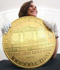 Монета в сто тысяч евро золотая